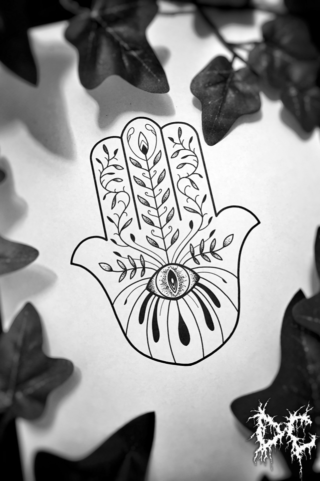 Dobry Chłopiec Tattoo - tatuaż projekt Chamsa Hamsa dłoń wzory tatuaży dotwork