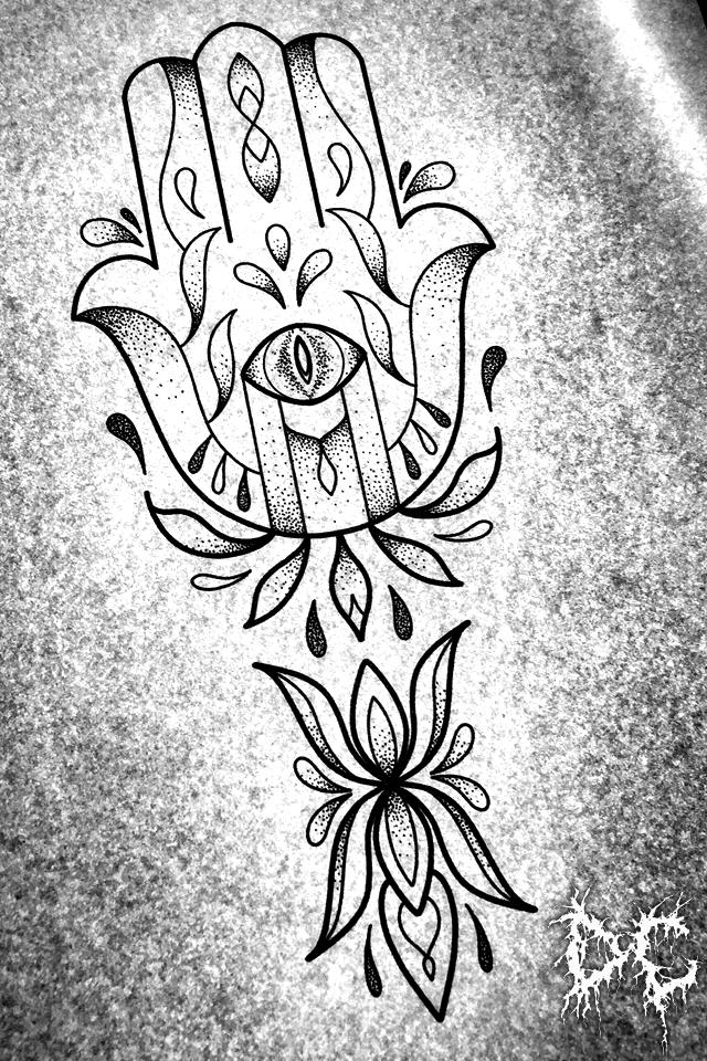 Dobry Chłopiec Tattoo - tatuaż projekt chamsa hamsa dłoń dotwork