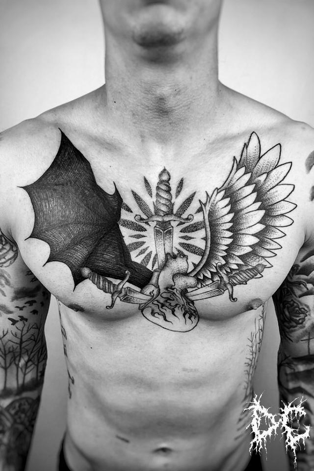 Dobry Chłopiec Tattoo - tatuaż projekt diabeł anioł skrzydła serce miecz wzory tatuaży dotwork