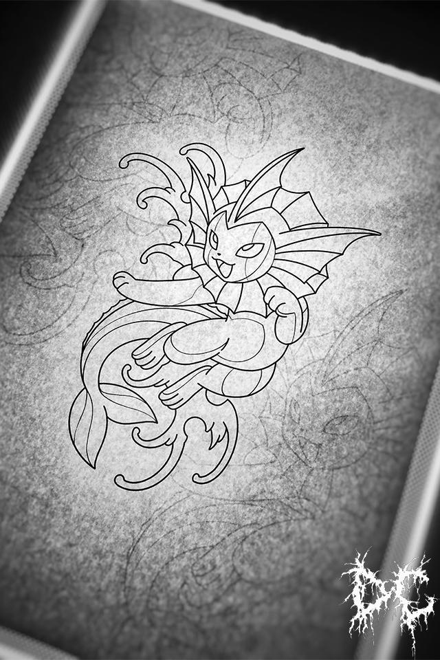 Dobry Chłopiec Tattoo Lublin - wzory tatuaży Pokemon Vaporeon