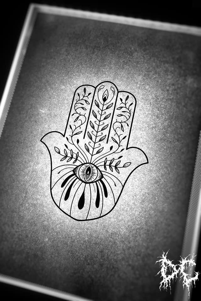 Dobry Chłopiec Tattoo Lublin - projekt wzór tatuażu chamsa hamsa dłoń oko indyjski